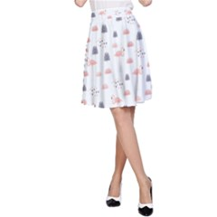 Cute Flamingos And  Leaves Pattern A-Line Skirt