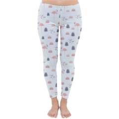Cute Flamingos And  Leaves Pattern Classic Winter Leggings