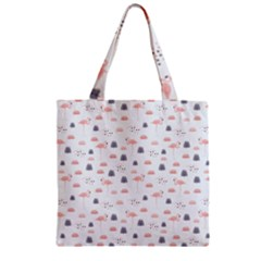Cute Flamingos And  Leaves Pattern Zipper Grocery Tote Bag