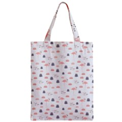 Cute Flamingos And  Leaves Pattern Zipper Classic Tote Bag