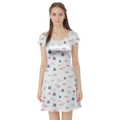 Cute Flamingos And  Leaves Pattern Short Sleeve Skater Dress