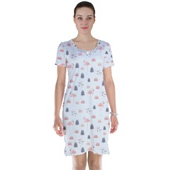 Cute Flamingos And  Leaves Pattern Short Sleeve Nightdress