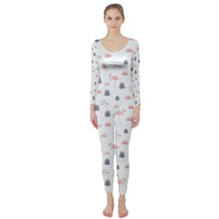 Cute Flamingos And  Leaves Pattern Long Sleeve Catsuit