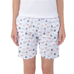 Cute Flamingos And  Leaves Pattern Women s Basketball Shorts