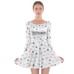 Cute Flamingos And  Leaves Pattern Long Sleeve Skater Dress