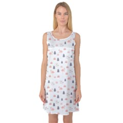 Cute Flamingos And  Leaves Pattern Sleeveless Satin Nightdress