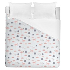 Cute Flamingos And  Leaves Pattern Duvet Cover (Queen Size)
