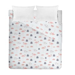 Cute Flamingos And  Leaves Pattern Duvet Cover Double Side (Full/ Double Size)
