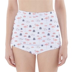 Cute Flamingos And  Leaves Pattern High-Waisted Bikini Bottoms