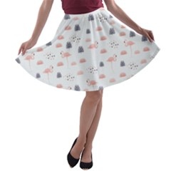 Cute Flamingos And  Leaves Pattern A-line Skater Skirt
