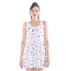 Cute Flamingos And  Leaves Pattern Scoop Neck Skater Dress