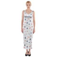 Cute Flamingos And  Leaves Pattern Fitted Maxi Dress
