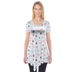 Cute Flamingos And  Leaves Pattern Short Sleeve Tunic