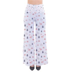Cute Flamingos And  Leaves Pattern Pants