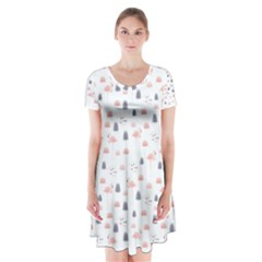 Cute Flamingos And  Leaves Pattern Short Sleeve V-neck Flare Dress