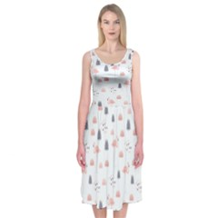 Cute Flamingos And  Leaves Pattern Midi Sleeveless Dress