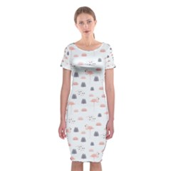 Cute Flamingos And  Leaves Pattern Classic Short Sleeve Midi Dress