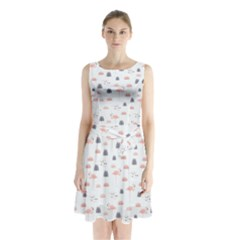 Cute Flamingos And  Leaves Pattern Sleeveless Chiffon Waist Tie Dress