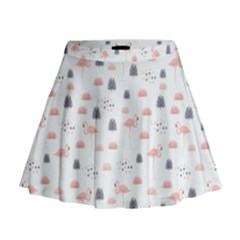 Cute Flamingos And  Leaves Pattern Mini Flare Skirt