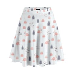 Cute Flamingos And  Leaves Pattern High Waist Skirt