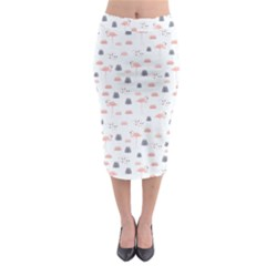 Cute Flamingos And  Leaves Pattern Midi Pencil Skirt