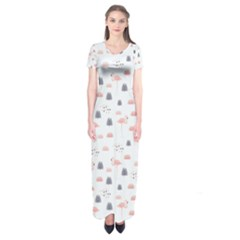 Cute Flamingos And  Leaves Pattern Short Sleeve Maxi Dress