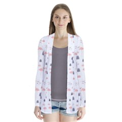 Cute Flamingos And  Leaves Pattern Cardigans