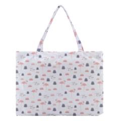 Cute Flamingos And  Leaves Pattern Medium Tote Bag