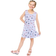 Cute Flamingos And  Leaves Pattern Kids  Tunic Dress