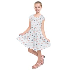 Cute Flamingos And  Leaves Pattern Kids  Short Sleeve Dress