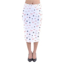 Cute Flamingos And  Leaves Pattern Velvet Midi Pencil Skirt