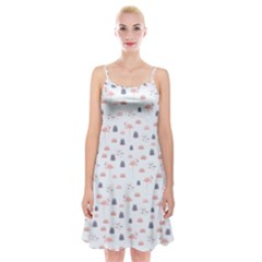 Cute Flamingos And  Leaves Pattern Spaghetti Strap Velvet Dress