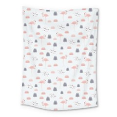 Cute Flamingos And  Leaves Pattern Medium Tapestry