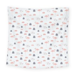 Cute Flamingos And  Leaves Pattern Square Tapestry (large)