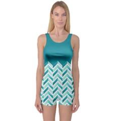 Zigzag pattern in blue tones One Piece Boyleg Swimsuit