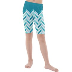 Zigzag pattern in blue tones Kids  Mid Length Swim Shorts