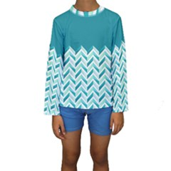 Zigzag pattern in blue tones Kids  Long Sleeve Swimwear