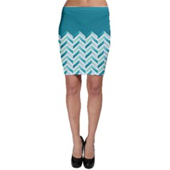Zigzag pattern in blue tones Bodycon Skirt