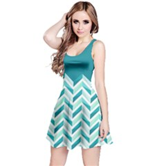 Zigzag pattern in blue tones Reversible Sleeveless Dress