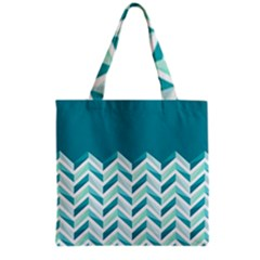 Zigzag pattern in blue tones Grocery Tote Bag