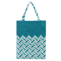 Zigzag pattern in blue tones Classic Tote Bag