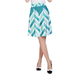 Zigzag pattern in blue tones A-Line Skirt