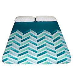 Zigzag pattern in blue tones Fitted Sheet (California King Size)