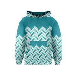 Zigzag pattern in blue tones Kids  Pullover Hoodie
