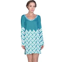 Zigzag pattern in blue tones Long Sleeve Nightdress