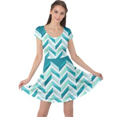 Zigzag pattern in blue tones Cap Sleeve Dresses