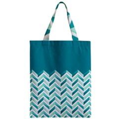 Zigzag pattern in blue tones Zipper Classic Tote Bag