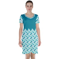 Zigzag pattern in blue tones Short Sleeve Nightdress