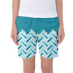 Zigzag pattern in blue tones Women s Basketball Shorts