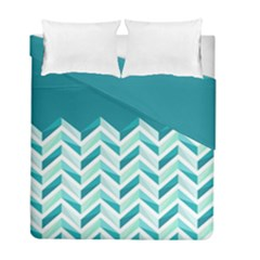 Zigzag pattern in blue tones Duvet Cover Double Side (Full/ Double Size)